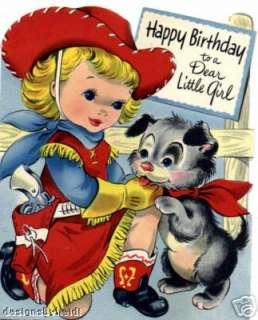 Vintage Refrigerator Magnet Happy Cowgirl Birthday V1