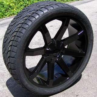 22 BLACK KMC SLIDE WHEELS RIMS & NANKANG N990 TIRES TAHOE YUKON
