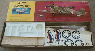 WWII P 40D WARHAWK Balsa Wood AIRPLANE MODEL KIT~RC or CL~MIB
