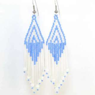 SKY BLUE WHITE SEED BEADED EARRINGS WHOLESALE JEWELRY