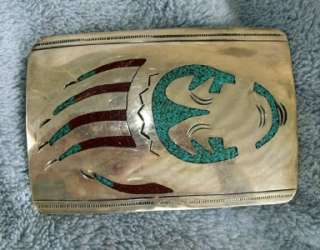 American Navajo Sterling Silver+Turquoise Belt Buckle Bear Claw Signed
