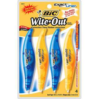 BIC Wite Out Exact Liner Correction Tape, White, 4 Pack: Office