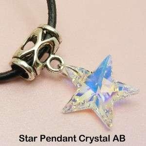 SWAROVSKI Crystal AB PENDANT & Leather NECKLACE HEART / STAR / MOON