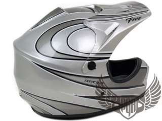 Youth Kids MX Riding Dirt Bike Buggy ATV Snow Quad DOT Helmet Silver S