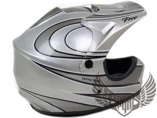 Youth Kids MX Riding Dirt Bike Buggy ATV Snow Quad DOT Helmet Silver S