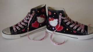 Black Convers Featuring Swarovski Cystals & Hand Painted Hello Kitty