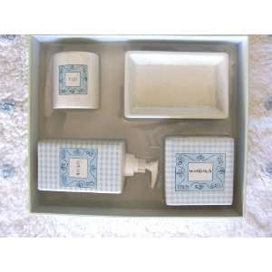Piece Baby Blue Dots & Check Ceramic Bath Accessory Set & Mat & Towels