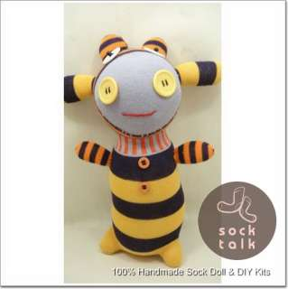 Handmade Striped Sock Monkey Cow Stuffed Animals Doll Baby Toy