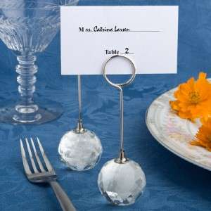 48 Sparkling Clear Crystal Ball Wedding Event Place Card Photo Holders