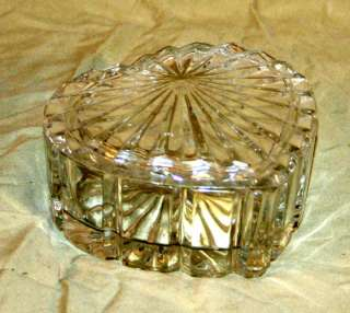Vintage Crystal Glass Heart Shaped Trinket Box