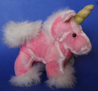 Dan Dee Pink Sparkly Unicorn Plush Stuffed Toy 6 EUC