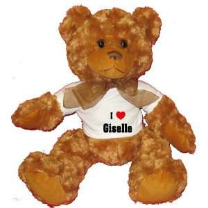 I Love/Heart Giselle Plush Teddy Bear with WHITE T Shirt