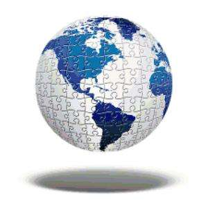Puzzle Globe Earth Map Counted Cross Stitch Pattern