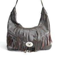 Western Style Cowgirl Leather Fringe Handbag Hobo BROWN
