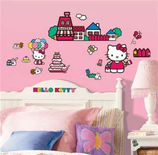Hello Kitty 32 pc Wall Decal Stickers Girls Room Decor Butterflies