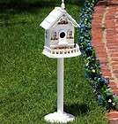 WHITE VICTORIAN FREE STANDING BIRD HOUSE VILLA SEED FEE