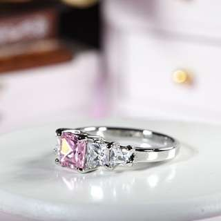 Xmas Gift Pink Sapphire White Gold GP Ring Lady Fashion Jewelry Size 7