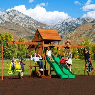 Adventure Playsets Aurora Wooden Swing Set Outdoor Play