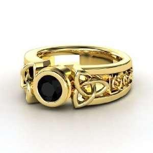 Celtic Sun Ring, Round Black Onyx 14K Yellow Gold Ring Jewelry