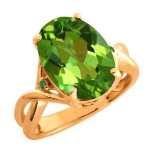 Green Oval Mystic Quartz and Green Diamond 18k Rose Gold Ring Jewelry