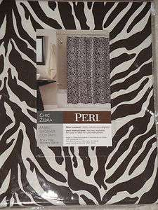 PERI Brown Cream ZEBRA PRINT Fabric SHOWER CURTAIN New