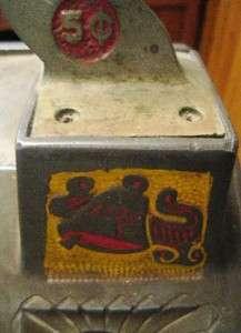 MILLS 5 CENT 3 REEL OWL GOOSENECK SLOT MACHINE CAST IRON & OAK~KEENEY
