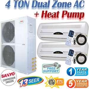 Dual Zone Mini Split Air Conditioner Ductless Heat Pump AC, A/C Heater