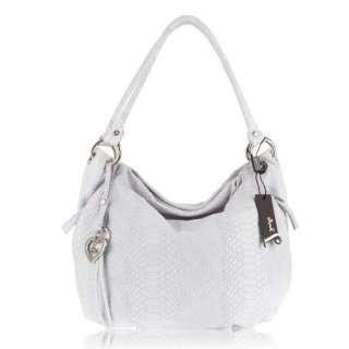 Italian Designer Python Embossed White Leather Hobo Bag Clothing