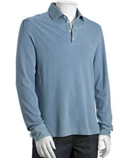 Brunello Cucinelli dusty blue cotton piqué long sleeve polo