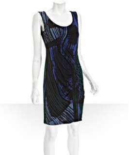 Donna Morgan midnight blue printed matte jersey dress   up to