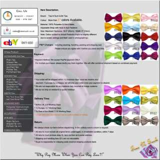 BRAND NEW PRE TIED SATIN WEDDING BOW TIE   27 COLOURS