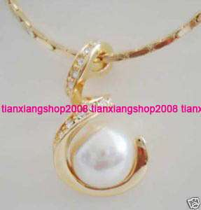 Rose gold Plated Crystal White Sea Shell pearl pendant necklace