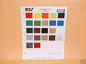 1978 1979 1980 PORSCHE EXTERIOR PAINT CHIPS COLOR CHART