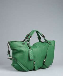 orYANY chive leather zip pocket large satchel