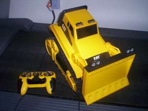 1995 TOY STATE INDUSTRIAL WIRED REMOTE CONTROL YELLOW CAT BULL DOZER