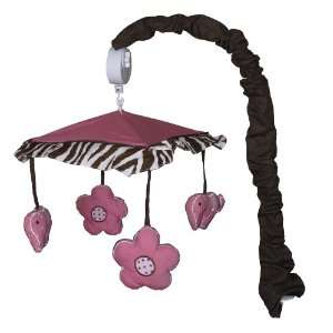 Musical Mobile for (Brown) Pink Zebra Baby Bedding Set