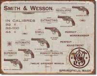 Smith & Wesson Revolvers Vintage Ad Tin Sign Reprod.