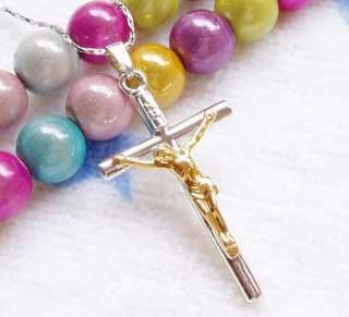 18K White Gold Swarovski Crystal GP Cross Necklace