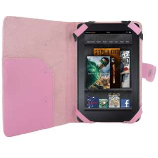 Kindle Fire Tablet   Premium Pink Folio Carry Case Cover   PU Leather