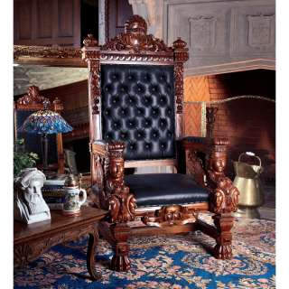 solid mahogany replica Hand Carved Solid Mahogany Throne Chair