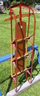 VINTAGE Wooden Snow Toboggan FLYER Sled YANKEE CLIPPER