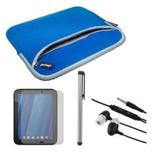 Pen + Blue Dual Pocket Carrying Case for HP Touchpad 9.7 Tablet
