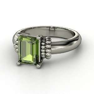 Ring, Emerald Cut Green Tourmaline Sterling Silver Ring Jewelry