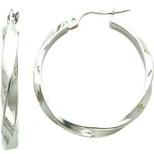 White gold Hoop Earrings Polished Jewelry New AB Jewelry